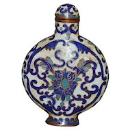 Chinese Blue & White Cloisonne Snuff Bottle - Antique