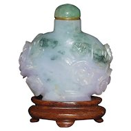 Chinese Hand Carved Lavender to Green Jade Snuff Bottle on Stand