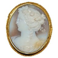 18K Italian Tri-Color Cameo Brooch - 1870's