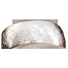 S. Kirk & Son Engraved Sterling Silver Cuff Bracelet - 1950's