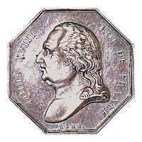 French Silver Louis XVIII Gaming Jeton - 1814