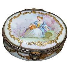 French Hand Painted Porcelain Patch Box c. 1830