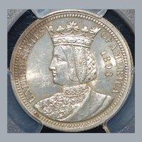 "United States Columbian ""Isabella"" Quarter Dollar - 1893"