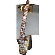 Pair of 18K Large Custom Diamond Hoop Earrings - 1980's
