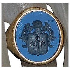 14K Carved Agate Crest Signet Ring - 1950's