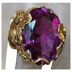 14K Large Custom Color Change Sapphire Ring - 1970's