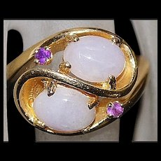 14K Lavender Jade and Amethyst Ring - 1980