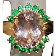 14K 5Ct Morganite and Green Garnet Ring