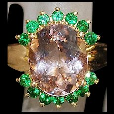 14K 5Ct Morganite and Green Garnet Ring