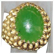 14K Green Jade Ring - 1970's