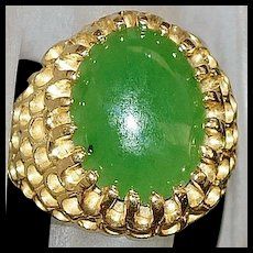 14K Green Jade Ring - 1970's