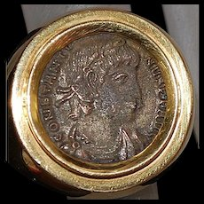 18K Heavy Italian Gold Roman Coin Ring