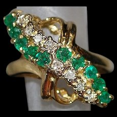 14K Emerald and Diamond Waterfall Ring