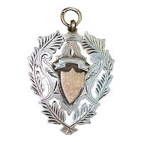 Large English Edwardian Sterling Silver Watch Fob - 1902