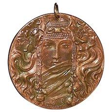French Bronze Art Nouveau Pendant - 1905