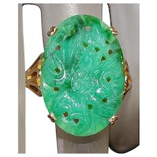 14K Carved Green Jade Ring - 1960's