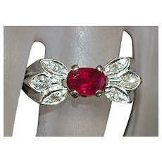 14K w/g Ruby and Diamond Ring - 1950