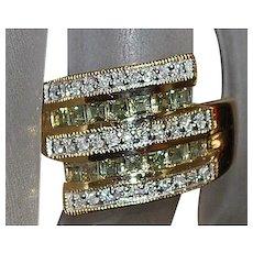 14K Topaz and Diamond Ring - 1980's
