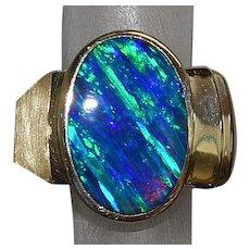 14K Black Flame Opal Signet Ring