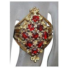 14K Etruscan Style Garnet Ring  - 1970's