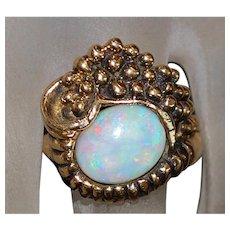 14K Custom Made Opal Ring - 1960's