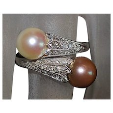 18k w/g Pearl and Pave Diamond Ring - 1930