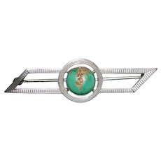 Art Deco Sterling Silver Turquoise Brooch - 1930's