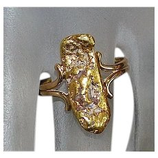 14K Natural Gold Nugget Ring - 1960's