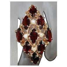 14K Large Garnet and Seed Pearl Ring