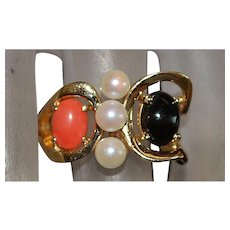 14K Black and Red Coral and Pearl Ring