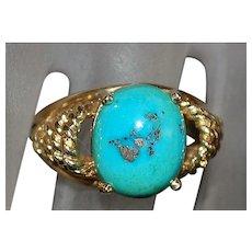 14K Morenci Turquoise Ring - 1960's