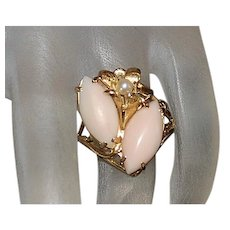 14K Angel Skin Coral and Pearl Ring