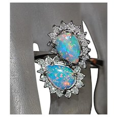 14K w/g Opal and Diamond Ring - 1950's