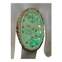 14K Custom Chinese Carved Jade Ring - 1920's