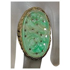 14K Custom Chinese Carved Jade Ring - 1920's