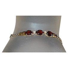 14K Garnet and Diamond Bracelet