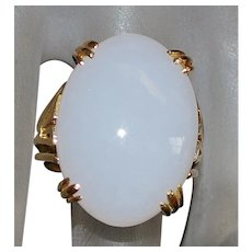 14K White Jade Ring - 1970's