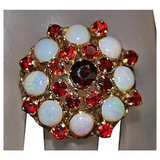 14K Large Opal and Garnet Ring