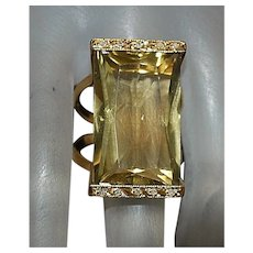 14K Large Oro Verde and Diamond Ring