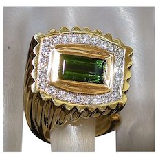 14K French Le Triomphe Tourmaline and Diamond Ring