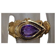 14K Pear Cut Amethyst Ring