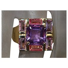 14K Amethyst and Pink Tourmaline ring