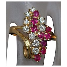 14K Ruby and Diamond  Waterfall Ring - 1960's