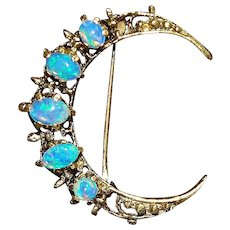 14K Gold and Opal Crescent Moon Brooch