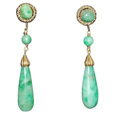 Pair of 14K Green Jade Dangle Earrings - 1970's