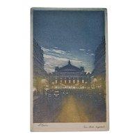 Paris Opera House Aquatint Engraving - 1920's