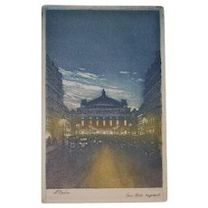 Paris Opera House Aquatint Engraving - 1920's