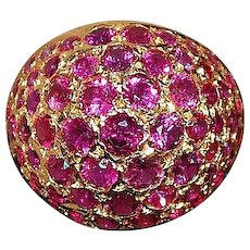 18K Pave Ruby Dome Ring - 1960's