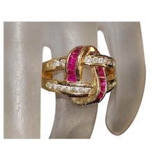 14K Ruby and Diamond Ring - 1980's