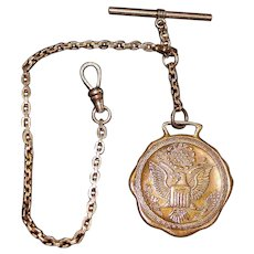 36680b059 Antique World USA. $120. Gold Fill Watch Chain with Fob - 1920